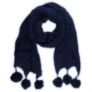 Strick Schal Winter Damen Bommel warm Blau