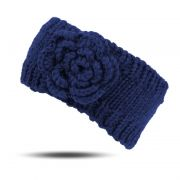 Strick Stirnband Blume warm Blau