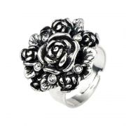 Vintage Ring Rose Strass antiksilberfarben