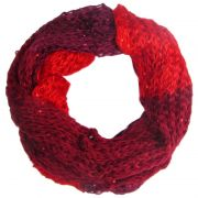 Warmer Damen Winter Pailletten Strickschal mehrfarbig Rot