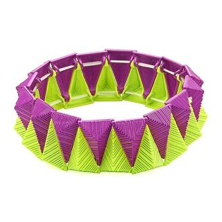 3D Funky Armband neon gelb violett