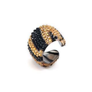Animal Ring Tiger Strass braun schwarz