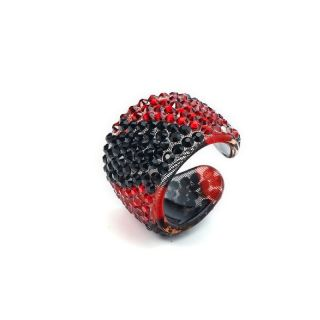 Animal Ring Tiger Strass rot schwarz