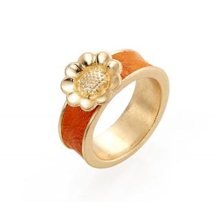 Blumen Ring genarbte Optik orange