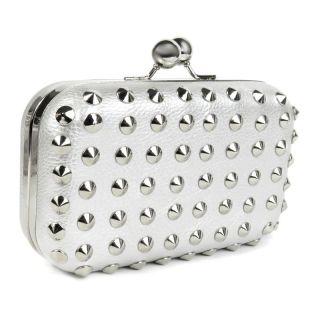 Clutch Box Nieten Metallic silber