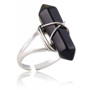 damen ring halbedelstein onyx optik quarz