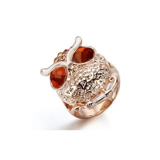 Ring Eule rose goldfarben Glas perlen