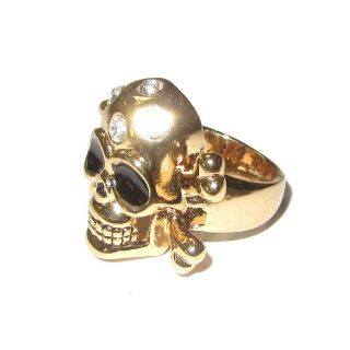 Rockabilly Ring Totenkopf Strass klar goldfarben