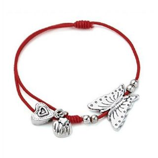 Zierliches Armband rot mit Charms
