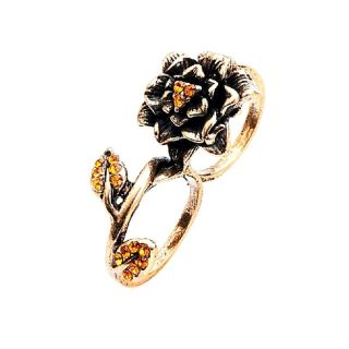 Zwei Fingerring Antik Look Blume gold